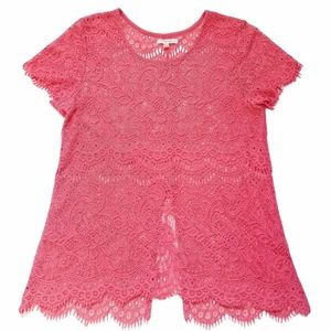 Maurices Split-Back Coral Pink Crochet Lace M Top